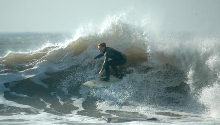 Surfing a beachbreak near my home